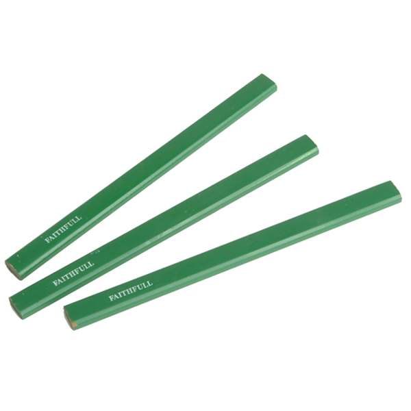 GREEN CARPENTERS PENCILS HARD (PACK 3)