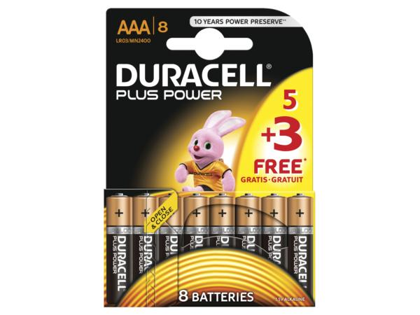 DURACELL AAA BATTERIES MULTI PACK OF 8 (5+3)