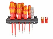 6 PIECE VDE SCREWDRIVER SET WITH 2 SCREW GRIPPERS